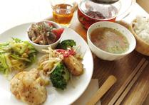 ガーデンプレート +ベーグル/ごはん+五行茶